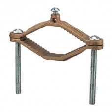 "Nsi G-12 Ground Clamp HD 2 1/2-4 inch Bronze Ground Clamp, 2 1/2"" - 4"" Water Pipe Size, 2 STR Ground Wire Max  UL CSA Price For 6"