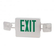 Nsi EEL2GW LED Exit LGT 120/277V GRN Let LED/Incandescent Exit Light, 120/277V, 2 Faces, GRN Lettering, White Housing, 2 Light Heads, 90 Min. Battery Backup Price For 1