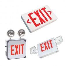 Nsi EXLRW LED Exit LGT 120/277V Red Let LED Exit Light, 120/277V, 2 Faces, RED Lettering, White Housing Price For 1