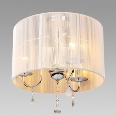 Amlite - SFM725CH -Balmoral Collections - 3-Light Semi-Flushmount with a White String Pleated Shade and Crystal Drops - Chrome - B10 - E12 -120V