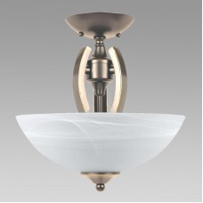 Amlite - SFM593SN - Contempra Collections - 2-Light Mini-Pendant with Alabaster  Glass - Satin Nickel  - A19 - E26 Base - 120V