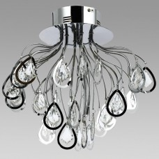 Amlite - SFM727CH -Hampton Collections - 8-Light Semi-Flushmount with Crystal Drops - Chrome - G4 Bulbs - 12V