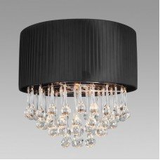 Amlite - SFM728CH - Manhattan Collection - 3-Light Semi-Flushmount Pleated Black Shade with Clear Crystal Water Drops - Chrome - GU10 (Included) -120V