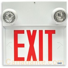 Beghelli Emergency Light - SLE636LU/2SR9W - LED Exit Sign - Stella Combo  - Adjustable lamp heads - White Thermoplastic - Red Letters - Battery Backup