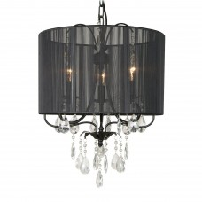 Bethel International- ET111BC - 3-Light Large Pendant - Black Linen with Clear Crystal