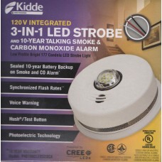 Kidde P4010ACLEDSCOCA 120 VAC Integrated 3-in-1 LED Strobe and 10-year Talking Smoke & CO Alarm
