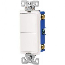 Cooper Wiring - 7728W-BOX - Commercial Grade 15A Combination Double Single-Pole Switches - White