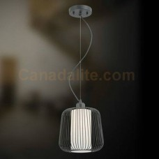 """Eurofase 20364-014 - Corral Collections - 1-Light Mini Pendant  - 10.5""""H - Bronze -  Forged Metal Caged Frame w/ Frosted White Glass Inner Diffuser"""