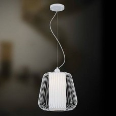 """Eurofase 20364-021 - Corral Collections - 1-Light Mini Pendant  - 10.5""""H - White - Forged Metal Caged Frame w/ Frosted White Glass Inner Diffuser"""
