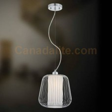 """Eurofase 20364-038 - Corral Collections - 1-Light Mini Pendant  - 10.5""""H - Chrome - Forged Metal Caged Frame w/ Frosted White Glass Inner Diffuser"""