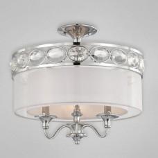 Eurofase 20295-028 - Bijoux Collections - 3-Light Semi Flushmount - Chrome with Transparent Chiffon/White Inside - B10 Bulbs - E12 - 120V