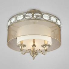 Eurofase 20295-011 - Bijoux Collections - 3-Light Semi Flushmount - Antique Brass with Amber Chiffon/White Inside - B10 Bulbs - E12 - 120V