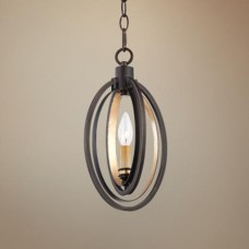 Eurofase 25645-019- Infinity Collections - 1-Light Mini Pendant - Oiled Rubbed Bronze with Gold Leaf - B10 Bulb - E12 Base