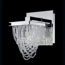 Eurofase 26590-011- Rio Collections - 1-Light Wall Sconce - Chrome w/ Crystal Beaded Basket - G9 Bulb - 120V