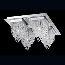 Eurofase 26593-012- Rio Collections - 4-Light Flushmount - Chrome w/ Crystal Beaded Baskets - G9 Bulb - 120V