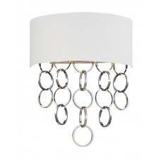 Eurofase 25612-011- Novello Collections - 2-Light Wall Sconce - White Cotton with Metallic Lining and Plated Rings - B10 Bulb