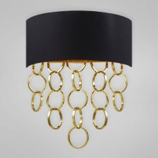 Eurofase 25612-028- Novello Collections - 2-Light Wall Sconce - Black Cotton with Metallic Lining and Plated Rings - B10 Bulb