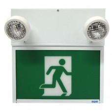Beghelli Steel LED Running Man Sign Combo - SL-RM636LU-0LR-M-2SR9W - Adjustable Lamp Head - Single Face - 120/277/347V with Battery Backup