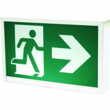 STANPRO Steel Running Man Exit Sign - RMS0WH-UDC - LED Running Man Sign - Steel - Green Sign