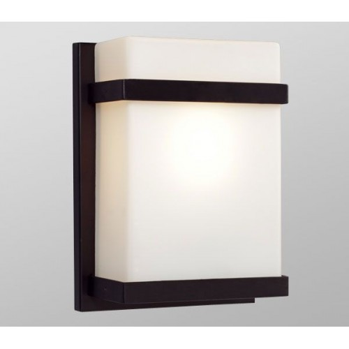 Indoor Wall Sconces Bronze : Galaxy-Lighting - 215580BZ- 1-Light Outdoor/Indoor Wall Sconce - Bronze with Satin White Glass