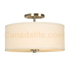 Galaxy-Lighting - Ansley Collections - 613048BN - 3-Light Semi-Flush Mount - Brushed Nickel with Ivory White Linen Shade