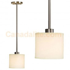 """Galaxy-Lighting - Ansley Collections - 913044BN - 1-Light  Mini-Pendant w/6"""",12"""",18"""" Extension Rods - Brushed Nickel with Ivory White Linen Shade"""