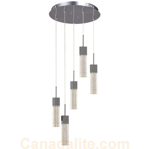 Galaxy-Lighting - 914705CH - 5-Light Multi-Light Pendant - Polished Chrome with Clear Crystal Bubble Glass w/ Linear Details  sc 1 st  CanadaLite.com & Galaxy-Lighting - 914705CH - 5-Light Multi-Light Pendant ... azcodes.com