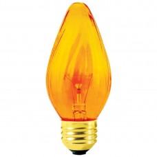 25W - Amber - 130V  F15 Flame - Medium Base E26 - 25F15/AMBER