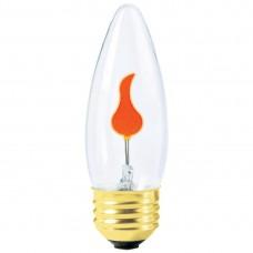 3W - Clear - B11 Flicker-Flame - Medium Base E26 - 3B11/MED/FLK