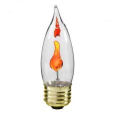 3W - Clear - CA11 Bent-tip Flicker-Flame -  Medium Base E26 - 3CA11/MED/FLK