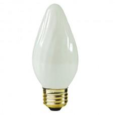25W - White - 130V F15 Flame - Medium Base E26 - Decorative Bulb - 25F15/WH