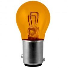 1157A  Mini Indicator Lamp - Amber Coated - S8 Bulb - 12.8 /14 Volt -  2.1/0.59 Amp. - DC Index Bayonet (BAY15d)