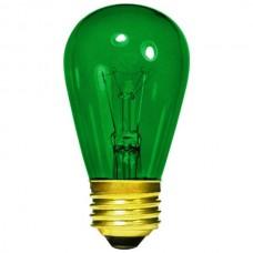 11 Watt - Transparent Green -S14 Sign lamp - Medium (E26) Base - 11S14/TG