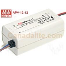 APV-12-12 Meanwell LED Driver - 12V 12W - APV-12 Series - IP30 - 12V Constant Voltage