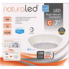 """NaturaLED - 7454 - LED7FMC-70L830 - 7"""" - 10W Flush Mount Compact LED Fixture - 3000K - 120V - Dimmable - Energy Star"""