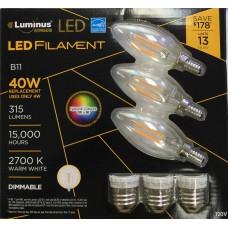 Luminus PLFZ6012T3 - B11 Filament LED Value Pack (3 pcs) - 4W / E12 - Warmwhite / 2700K - 315 Lumens - Energy Star