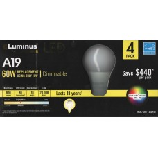 Luminus - A19 LED Value Pack - Dimmable - 10 Watt - 3000K bright White - 800 Lumens - 60 Watt Equal - Energy Star