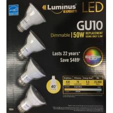 Luminus PLZ2013T4 - GU10 LED Value Pack - 5.5 Watt - 3000K Bright White - 430 Lumens - 50 Watt Equal - 40 Degree Flood - Dimmable - Energy Star