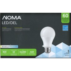 NOMA - LED A19 - Dimmable - 10 Watt - 5000K Daylight - 800 Lumens - 60 Watt Equal - 3-pk