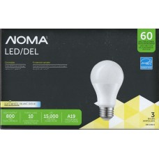 NOMA - LED A19 - Dimmable - 10 Watt - 3000K Soft White - 800 Lumens - 60 Watt Equal - 3-pk
