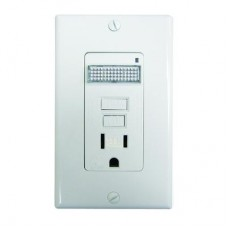 Leviton  T7591-722 15A-125V SmartLockPRO Tamper Resistant GFCI Outlet with LED Automatic Sensor Guide Light - White