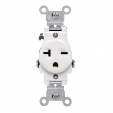 BAS-013 20 Amp Commercial Grade Double-Pole Single Outlet, White